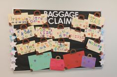 """Amazing Wonders Aviation VBS - We made our arts & crafts room the """"Baggage Claim.""""  On day one we made suitcases from legal sized manila folders (a craft idea from the Lifeway curriculum), put them on the bulletin board & will place all of our other craft projects in the folder & the kids will take their filled suitcases home on Friday."""
