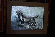 Dog Basset Hound 5 x 7 x 0.23 in. by by JJgaliciaMetalRelief, $60.00