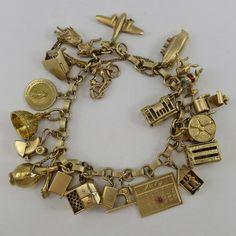14K YELLOW GOLD Vintage CHARM BRACELET 60.3 Grams PIANO Ship Boat AIRPLANE Bike