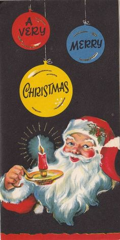 Vintage Greeting Card Christmas Santa Claus Candle i315