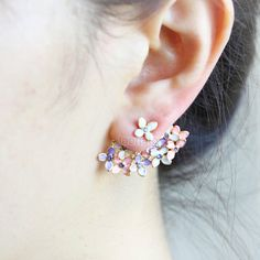 Hey, I found this really awesome Etsy listing at https://www.etsy.com/listing/218940680/floral-bouquet-earrings-pink-and-violet