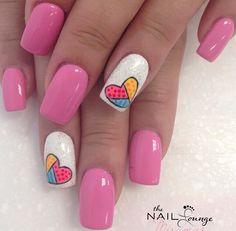 Pink and heart art nails