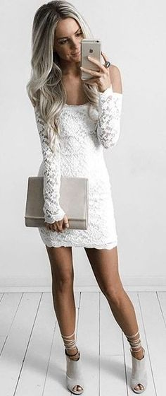 #summer #style |Off The shoulder Hot Miami Styles White Dress                                                                             Source