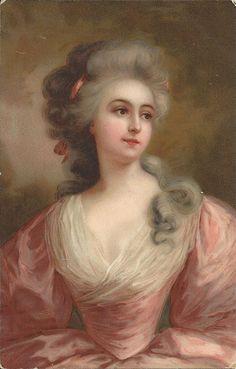 Regency lady, long hair, Antoinette style, Meissner & Buch, pale pink dress, chromolithograph, artist postcard, vintage beauty   (pcil/gl5)