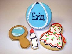 pearl necklaces cookies with 1950's apron, lipstick and mirror