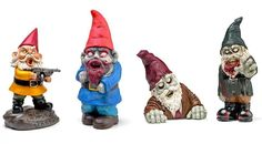 ThinkGeek :: Zombie Apocalypse Garden Gnomes - these would be funny in the back garden! ThinkGeek :: Zombie Apocalypse Garden Gnomes - these would be funny in the back garden! Evil Gnome, Zombie Apocalypse Party, Halloween Train, Gnome Statues, 60th Birthday Gifts, Gnome Garden, Geek Out, Geek Gifts, Hallows Eve