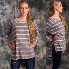 Striped tunic Soft and cozy rub and stripe knit oversized hi-low tunic. Long sleeve.  Message me to create your own listing Lewboutiquetwo Tops Tees - Long Sleeve
