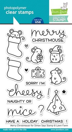 Lawn Fawn STAMPtember Exclusive MERRY CHRISTMOUSE Clear Stamps LF1011 zoom image
