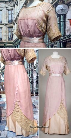 Evening or dinner gown, ca. 1907-10, of pink silk muslin over pink silk, trimmed with cream machine lace and pink satin ribbon. Bottom right pic from the Gemeentemuseum via ModeMuze; other two pics by Myrthe on Pinterest.
