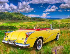 Vintage Cars 1955 Buick Skylark - 1955 Buick Skylark parked along Last Dollar Road near Ouray, Colorado Vintage Cars, Antique Cars, Convertible, Automobile, Buick Cars, Buick Skylark, Buick Roadmaster, Gm Car, Hot Cars