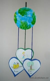 Earth Day mobile...writing activity on hearts to make more challenging for 2nd grade students?