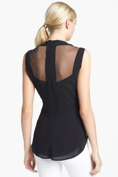 Harlowe and Graham | Harlowe and Graham Sheer Inset Chiffon Shell | Nordstrom Rack  JUST LIKE THE CREAM ONE PINNED BEFORE IT AND DESCRIBED AS A T-BACK AND SUPER CHIC!!! JUST 13.80 FROM $68 AT HAUTE COUTURE AT NORDSTROM