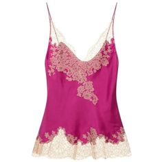 Carine Gilson Lace Trim Camisole Top (47.715 RUB) ❤ liked on Polyvore featuring tops, lace camis, lace spaghetti strap top, lace trim camisole, purple camisole and cami top