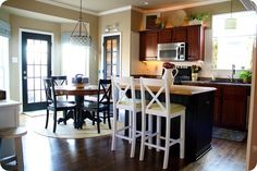 White chairs and Black Island from Thrifty Decor Chick