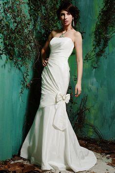 A-line Strapless Ruched Bodice Draped Beaded Bow Taffeta Wedding Dress-wa0121, $214.95