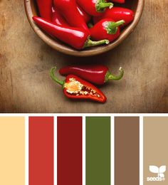 A warm and inviting color palette with rich red and cozy browns inspired by chili peppers on a rustic wood counter. #colorschemes #colorpalettes #colorpallets