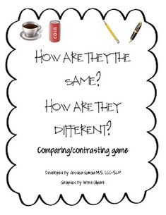 This compare and contrast game will be used to help reinforce compare and contrast through the use of games. 5th grade