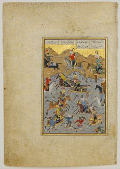 "Nizami (Ilyas Abu Muhammad Nizam al-Din of Ganja) (probably 1141–1217). ""Battle between Alexander and Darius"", Folio from a Khamsa (Quintet) of Nizami, A.H. 931/A.D. 1524–25. The Metropolitan Museum of Art, New York. Gift of Alexander Smith Cochran, 1913 (13.228.7.15) 