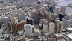 Baltimore, Maryland. Aerial photograph of city skyline. [From Aerial America]
