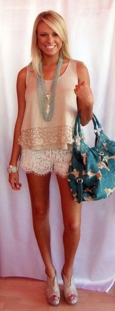 Linen & Lace Tank: $58-  Vanilla Lace Shorts: $88-  Cream Studded Wedges: $89.99-  Turquoise Handbag: $95