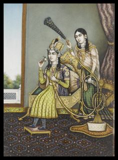 Mumtaz Mahal, consort of Shah Jahan, seated in an interior smoking a hookah, an attendant with a morchal standing behind her
