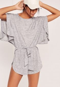 Batwing Jersey Playsuit Grey