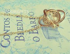 Hermione necklace, Harry Potter time turner necklace, vintage style, the Golden Snitch jewelry, Harry Potter Necklace NH-01