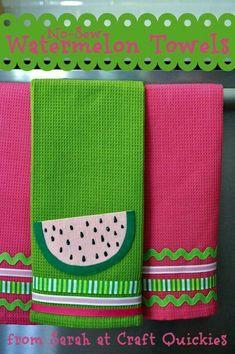 Summery NO-SEW Watermelon Towels from Sarah at Craft Quickies!i love the colors :) Watermelon Towel, Watermelon Crafts, Fabric Crafts, Sewing Crafts, Sewing Projects, Dish Towels, Tea Towels, Applique Towels, Towel Apron