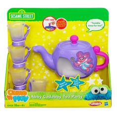 My boy loves tea.   Abby Cadabby set.
