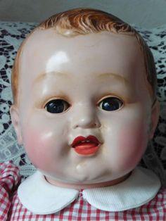 Poupee-ancienne-celluloid-Premier-grand-bebe-Gege-en-rhodoid-55-cm Old Dolls, Puppets, Stuffed Toys, Children, Bebe, Vintage Dolls, Beginning Sounds, Toy, Baby Dolls