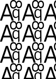 Interstate, Tobias Frere-Jones, 1993. Pattern 1 (bn) 'Regolare': A, q, 8, Interstate light, regular. I glifi presentano delle pance regolari, l'assenza di grazie rende il carattere più geometrico e per questo regolare.