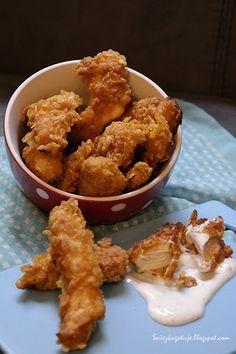 Kurczaczki jak z KFC Kfc, Onion Rings, Poultry, Meat, Chicken, Ethnic Recipes, Food, Hawaii, Party