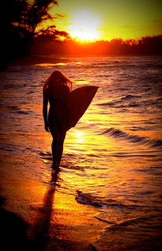 Surfer Girl #surf #girl #board #sunset #summer #water