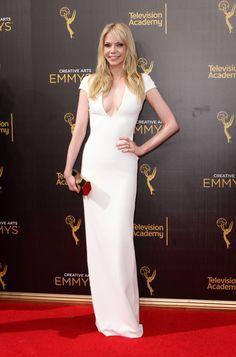 Riki Lindhome Elegant White Deep V Neck Cap Sleeve Formal Dress Emmys 2016