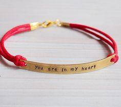 Engraved bracelet gold, mens engraved bracelet, engravable bracelet, red leather, quote bracelet, matching bracelet, couples bracelet, gift
