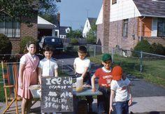 35mm Slide 1960 Lemonade Stand Children Street Scene NY Kodak Kodachrome