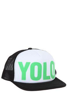 Black Green YOLO Trucker Hat Gorras f20a72e1761
