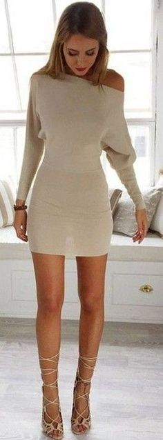 #prefall #muraboutique #outfitideas | Beige Knit Dress