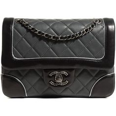 CHANEL Calfskin Quilted Bicolor Mini Flap Grey Black ❤ liked on Polyvore featuring bags, handbags, shoulder bags, shoulder strap handbags, quilted handbags, evening purse, gray shoulder bag and black quilted purse