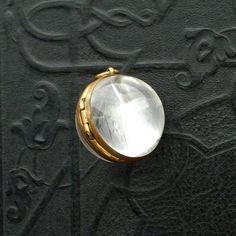 Antique Rock Crystal Locket . Pool of Light . Large. Gilt Brass.  Quartz Crystal.. $700.00, via Etsy.