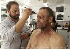 The Walking Dead Season 3 Behind the Scenes Photos  Kevin Wasner (Special FX Makeup Artist) and Michael Rooker (Merle Dixon) in Episode 15 #thewalkingdead