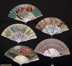 7 Hand Fans, 1840-1875; all with abalone or mother-of-pearl sticks and guards, most carved and with paper leafs.