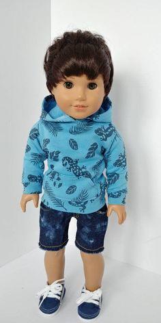Fits like American girl boy doll clothing. Boy Doll Clothes, Doll Clothes Patterns, Diy Clothes, Doll Patterns, American Boy Doll, American Girl Clothes, 18 Inch Boy Doll, Barbie Doll Accessories, Sewing Dolls