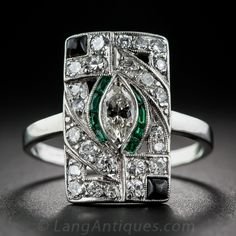 Art Deco Platinum Diamond and Emerald-Green Glass with Onyx Dinner Ring