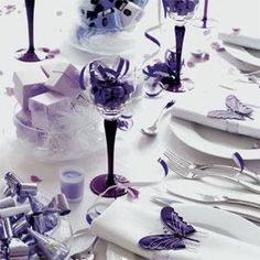 Purple And Butterfly Wedding Purple Table Setting Part 91