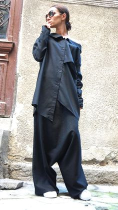 NEW Collection Loose Linen Black Harem Pants / Extravagant Drop Crotch Black Pants Extravagant Trousers by AAKASHA  A05131