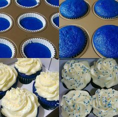 Yummy Super Easy Blue Velvet Cupcakes (with buttercream icing) Leckere Super Easy Blue Velvet Cupcakes (mit Buttercreme-Zuckerguss) Sweet Tooth (Visited 43 times, 1 visits today) Velvet Cake, Blue Velvet Cupcakes, Colored Cupcakes, Cupcake Recipes, Cupcake Cakes, Icing Cupcakes, Buffet Dessert, Blue Icing, Blue Food Coloring