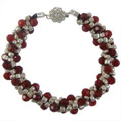 Silver & Red Beaded Kumihimo Bracelet