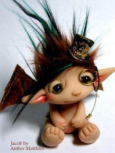 Amber Matthies Steampunk Fairy Trollfling Troll doll Jacob -Adopted trollflings.etsy.com