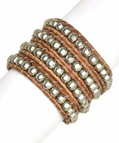 Another great find on #zulily! Brown & Silver Beaded Leather Wrap Bracelet by Made It #zulilyfinds